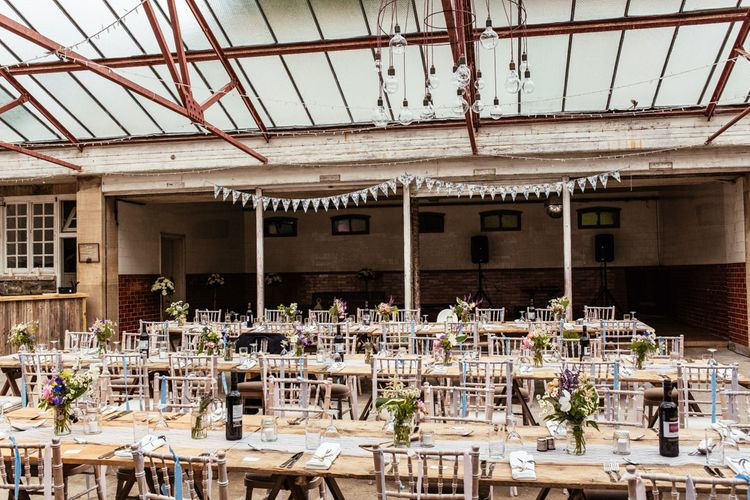 Rustic Reception with Lace Table Runner & Wild Flower Centrepieces