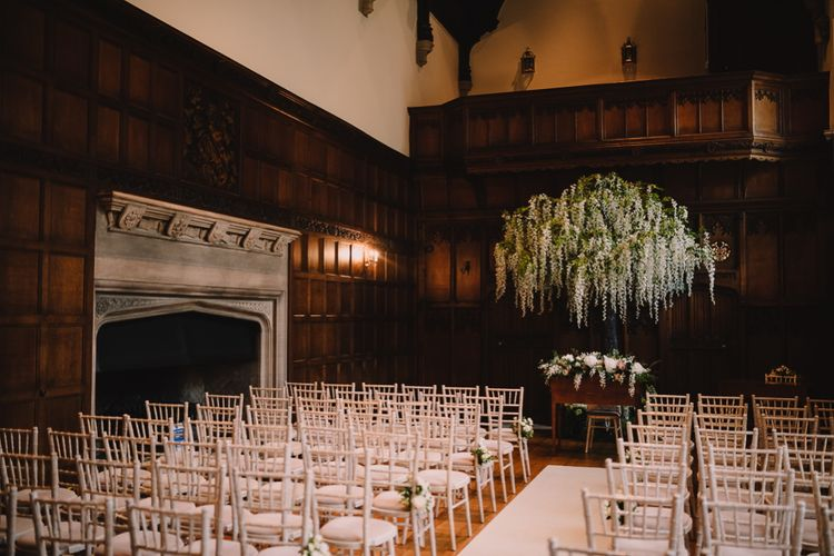 Aisle & Altar at Hengrave Hall with Wisteria Tree