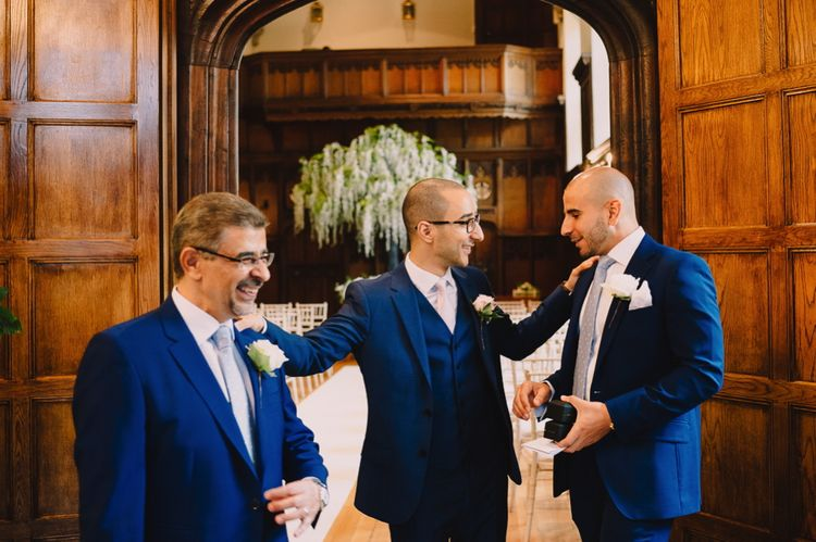Groomsmen in Blue Reiss Suits