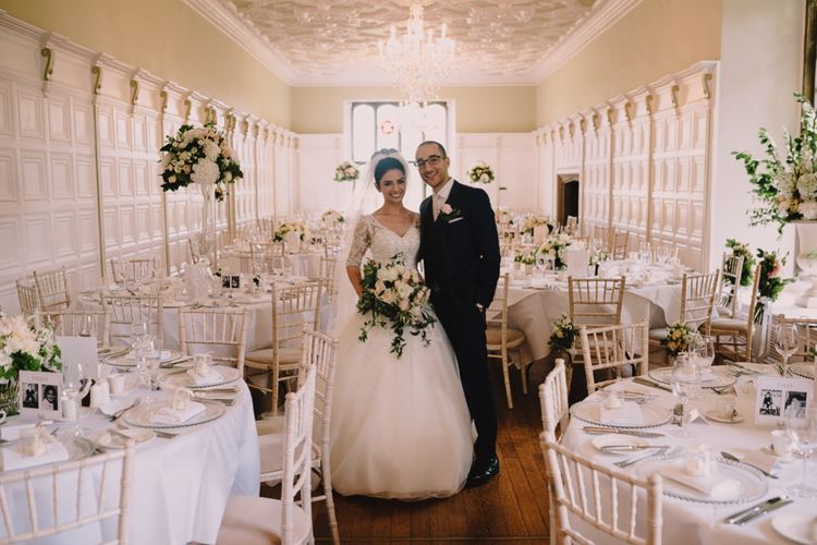 Elegant All White Reception at Hengrave Hall