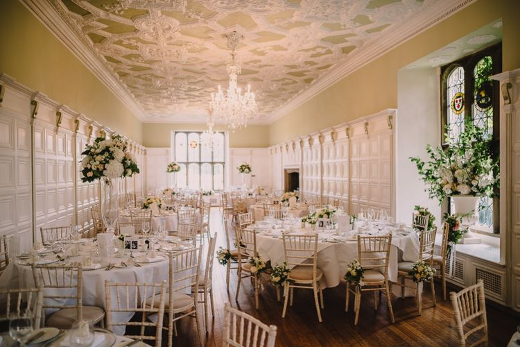 Elegant White on White Wedding Reception at Hengrave Hall