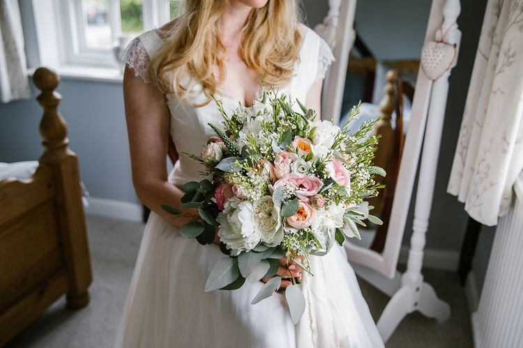 Pastel Wedding Bouquet With Peonies & Roses