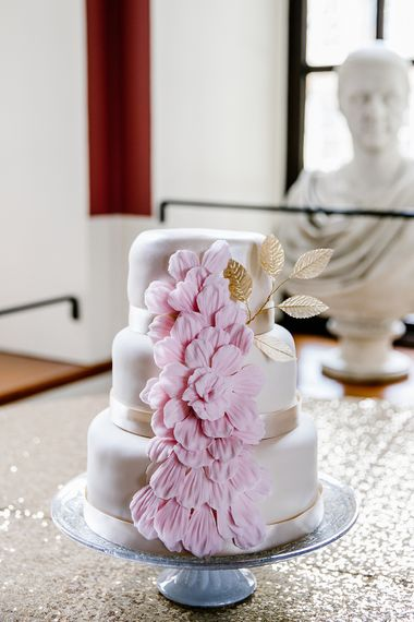 Wedding Cake With Pink Floral Icing