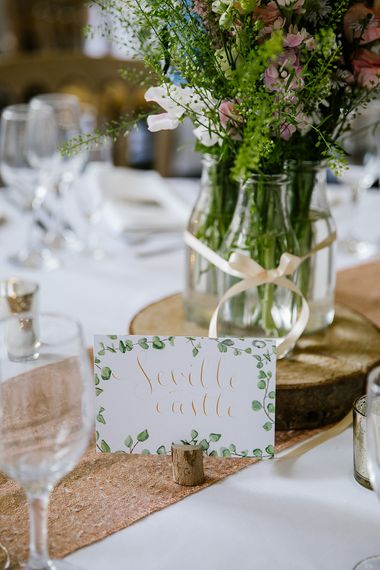 Pastel Wedding With Rustic Details & Floral Illustrated Paper Goods