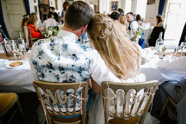 Groom In Floral Waistcoat For Wedding