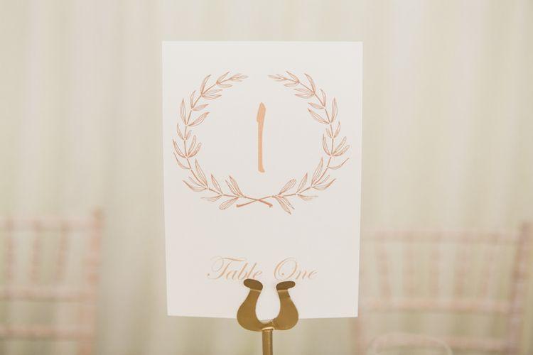 Laurels Table Number Wedding Stationery