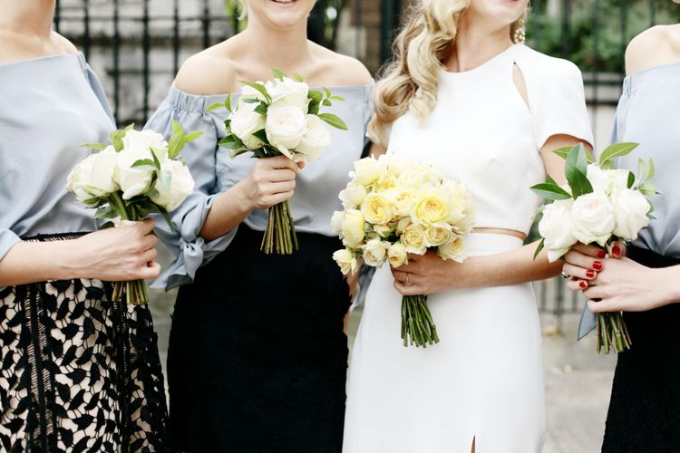 Pale Yellow Wedding Bouquets | Dasha Caffrey Photography