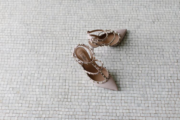 Valentino Rock Stud Wedding Shoes // Outdoor Wedding In Scotland With Burgundy, Pink & Navy Colour Scheme Images From Caro Weiss Photography & Bespoke Stationery From de Winton Paper Co