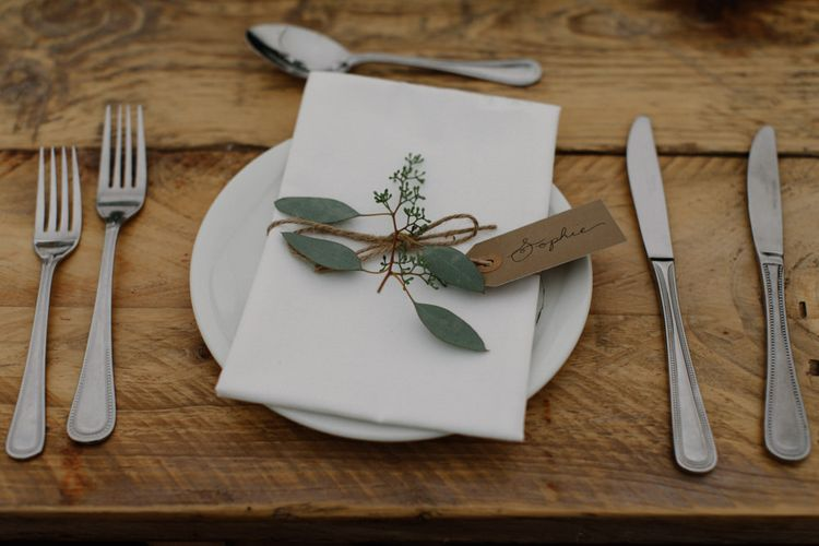Simple Place Setting For Wedding // Outdoor Wedding In Scotland With Burgundy, Pink & Navy Colour Scheme Images From Caro Weiss Photography & Bespoke Stationery From de Winton Paper Co