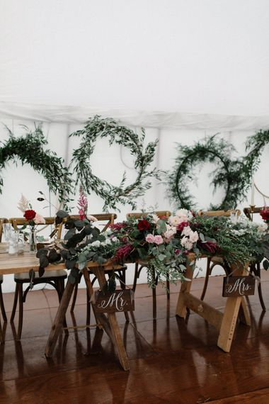 Floral & Foliage Hoops For Wedding // Outdoor Wedding In Scotland With Burgundy, Pink & Navy Colour Scheme Images From Caro Weiss Photography & Bespoke Stationery From de Winton Paper Co