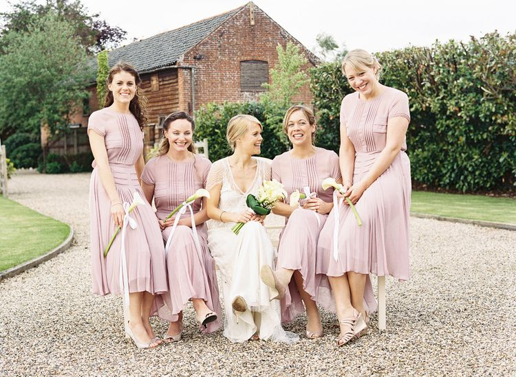 Bridesmaids in Pink Warehouse Dresses