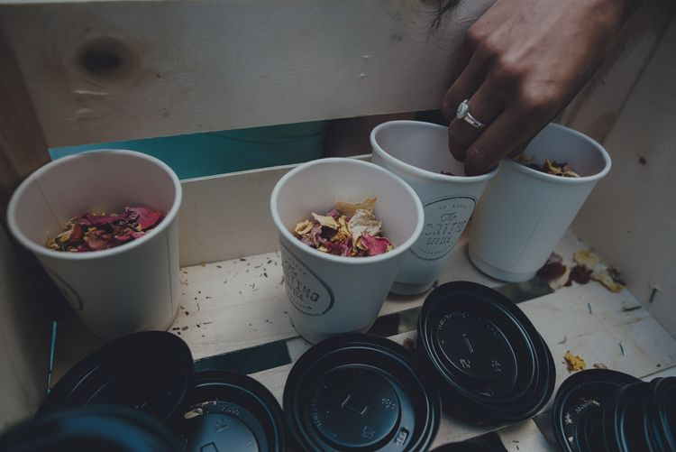 Confetti In Coffee Cups From The Sorting Office St Agnes
