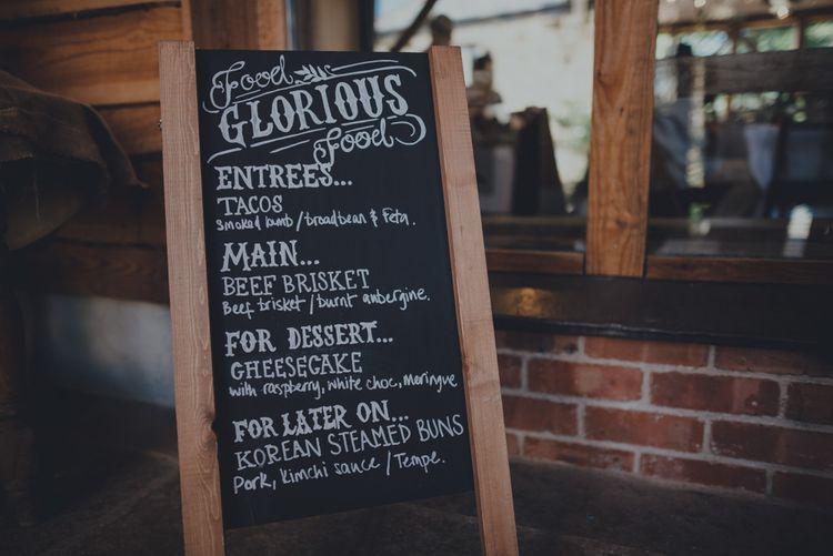 Chalkboard Menu Sign For Wedding