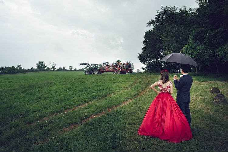 Bride in Red Dress by Mishi May