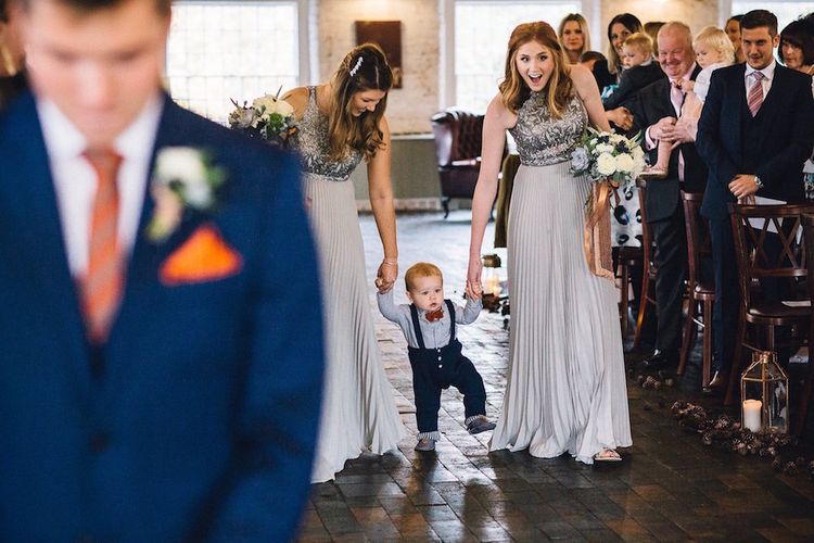 Bridesmaids In Sequinned Dresses