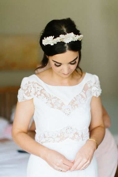 Luna Bea Bespoke Bridal Crown // Personalised Pink Leather Jacket For Bride & Bespoke Luna Bea Crown Marquee Wedding Northumberland Images Melissa Beattie Shoot Me Now Wedding Films