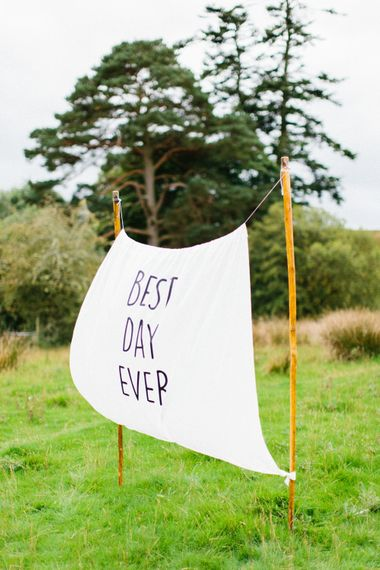 Best Day Ever Wedding Sign // Personalised Pink Leather Jacket For Bride & Bespoke Luna Bea Crown Marquee Wedding Northumberland Images Melissa Beattie Shoot Me Now Wedding Films