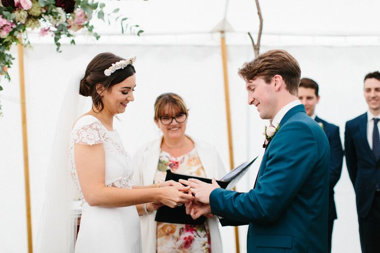 Humanist Wedding Ceremony In Marquee // Personalised Pink Leather Jacket For Bride & Bespoke Luna Bea Crown Marquee Wedding Northumberland Images Melissa Beattie Shoot Me Now Wedding Films