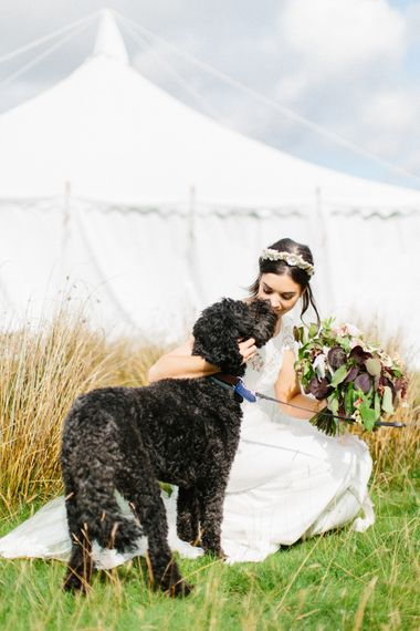 Bride With Dog // Personalised Pink Leather Jacket For Bride & Bespoke Luna Bea Crown Marquee Wedding Northumberland Images Melissa Beattie Shoot Me Now Wedding Films