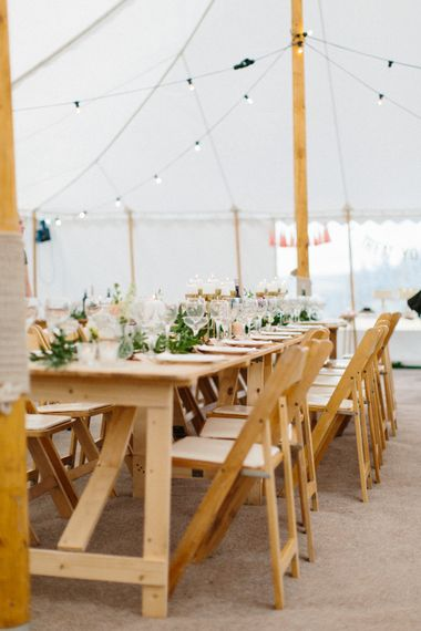Wooden Marquee Furniture // Personalised Pink Leather Jacket For Bride & Bespoke Luna Bea Crown Marquee Wedding Northumberland Images Melissa Beattie Shoot Me Now Wedding Films