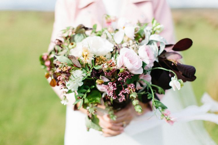 Berry Toned Wedding Bouquet With Pink Roses // Personalised Pink Leather Jacket For Bride & Bespoke Luna Bea Crown Marquee Wedding Northumberland Images Melissa Beattie Shoot Me Now Wedding Films