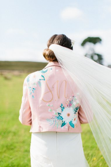 Personalised Pink Leather Jacket For Bride & Bespoke Luna Bea Crown Marquee Wedding Northumberland Images Melissa Beattie Shoot Me Now Wedding Films