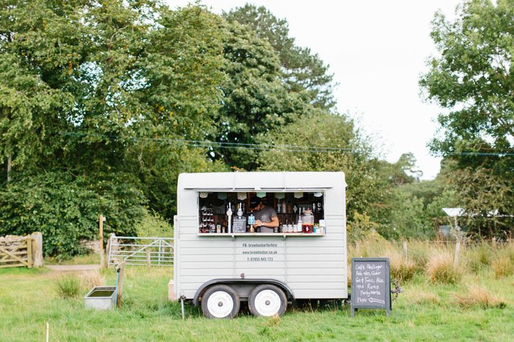 Horse Box Bar For Wedding // Personalised Pink Leather Jacket For Bride & Bespoke Luna Bea Crown Marquee Wedding Northumberland Images Melissa Beattie Shoot Me Now Wedding Films