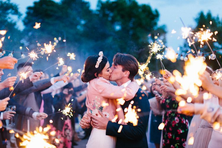 Sparkler Send Off // Personalised Pink Leather Jacket For Bride & Bespoke Luna Bea Crown Marquee Wedding Northumberland Images Melissa Beattie Shoot Me Now Wedding Films