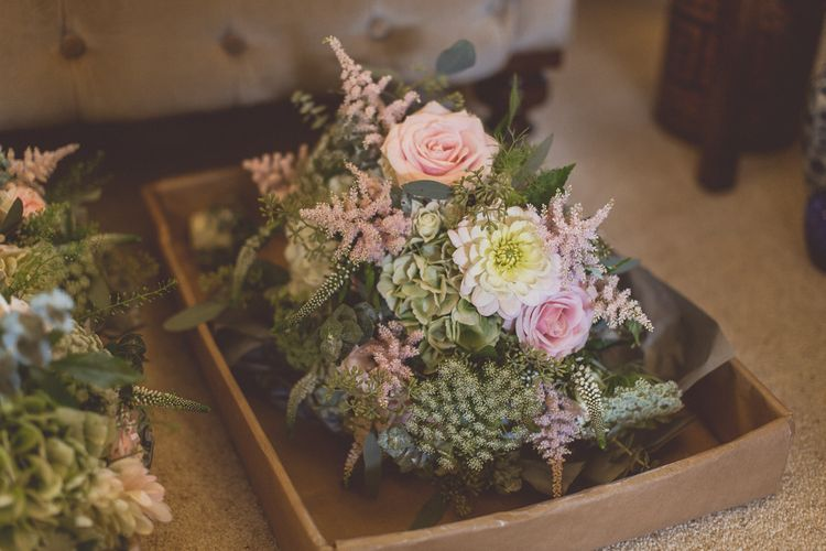 Pale Green & Pink Bouquets | Classic Wedding at Knowsley Hall Country House in Merseyside | Photography & Film by WE ARE // THE CLARKES