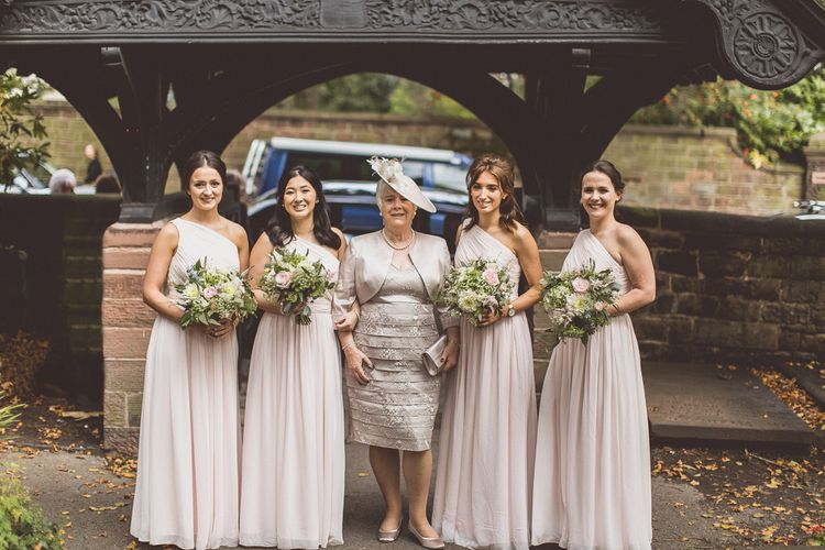 Bridal Party | Bridesmaids in Pale Pink, Matchimony Long, One Shoulder Dresses | St. Peters Church in Woolton Village | Classic Wedding at Knowsley Hall Country House in Merseyside | Photography & Film by WE ARE // THE CLARKES