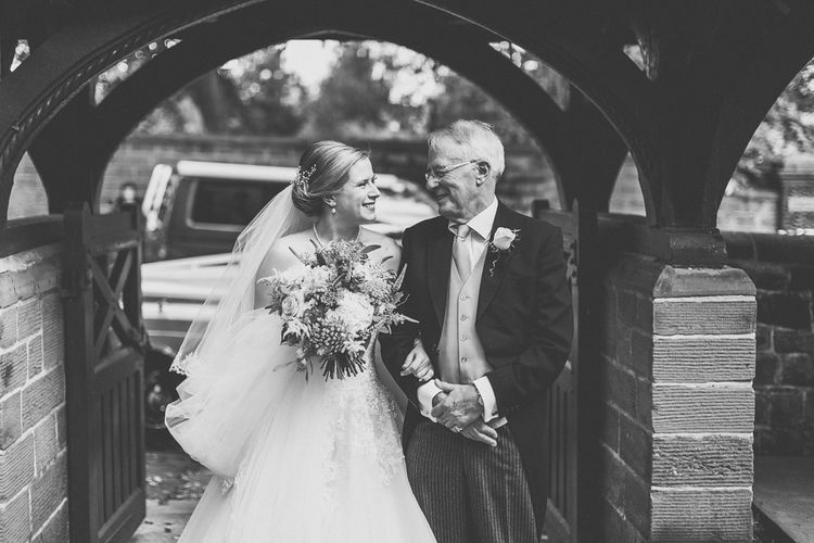 Bridal Entrance in a Diane Legrand Princess Gown | Father of the Bride in Suit Supply | St. Peters Church in Woolton Village | Classic Wedding at Knowsley Hall Country House in Merseyside | Photography & Film by WE ARE // THE CLARKES