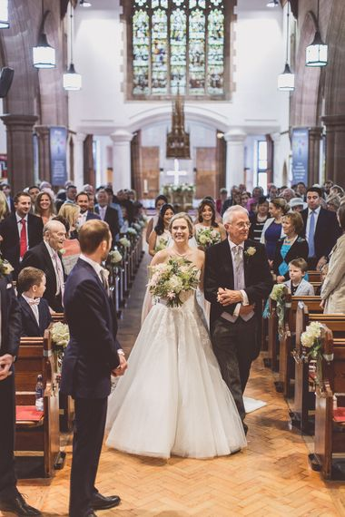 Wedding Ceremony | Bridal Entrance in a Diane Legrand Princess Gown | St. Peters Church in Woolton Village | Classic Wedding at Knowsley Hall Country House in Merseyside | Photography & Film by WE ARE // THE CLARKES