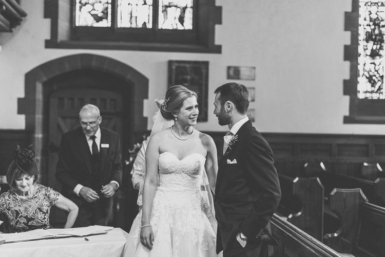 Wedding Ceremony | Bride in a Diane Legrand Princess Gown | Groom in Navy Whitcomb and Shaftsbury Suit | St. Peters Church in Woolton Village | Classic Wedding at Knowsley Hall Country House in Merseyside | Photography & Film by WE ARE // THE CLARKES