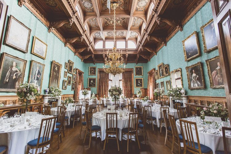 Elegant Wedding Reception Room | Classic Wedding at Knowsley Hall Country House in Merseyside | Photography & Film by WE ARE // THE CLARKES