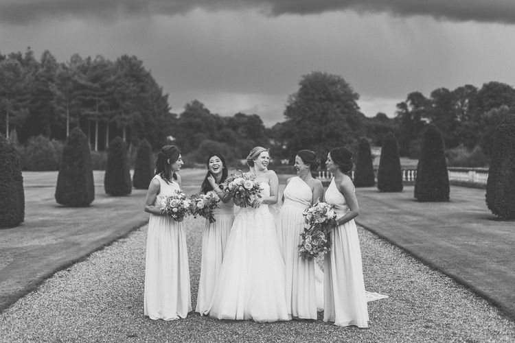 Bridal Party | Bridesmaids in Pale Pink, Matchimony Long, One Shoulder Dresses | Bride in a Diane Legrand Princess Gown | Classic Wedding at Knowsley Hall Country House in Merseyside | Photography & Film by WE ARE // THE CLARKES