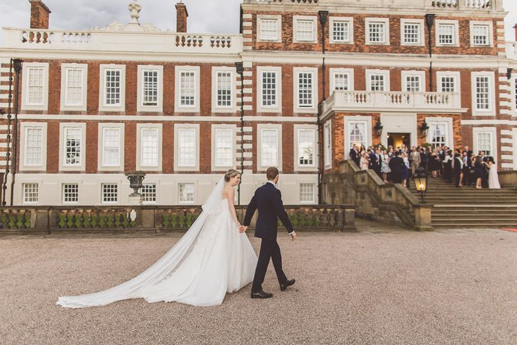 Bride in a Diane Legrand Princess Gown | Groom in Navy Whitcomb and Shaftsbury Suit | Classic Wedding at Knowsley Hall Country House in Merseyside | Photography & Film by WE ARE // THE CLARKES