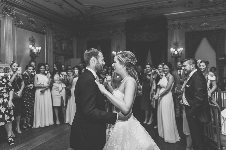 First Dance | Bride in a Diane Legrand Princess Gown | Groom in Navy Whitcomb and Shaftsbury Suit | Classic Wedding at Knowsley Hall Country House in Merseyside | Photography & Film by WE ARE // THE CLARKES