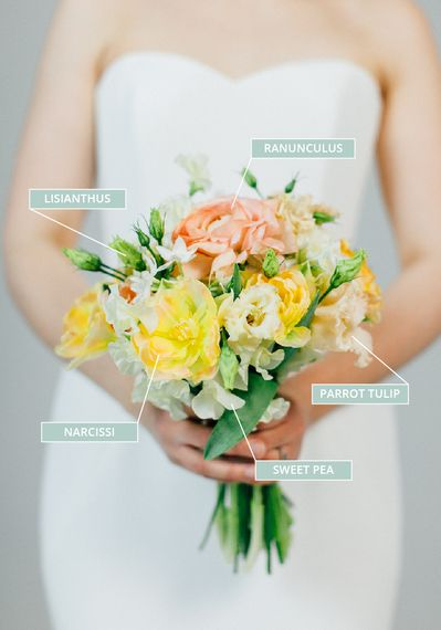 Spring Wedding Bouquet With Lisianthus, Ranunculus, Narcissi, Sweet Peas & Parrot Tulips