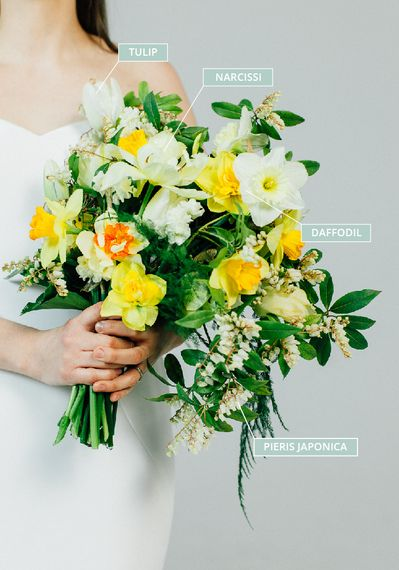 Spring Wedding Bouquet With Daffodils, Narcissi, Tulips & Pieris Japonica