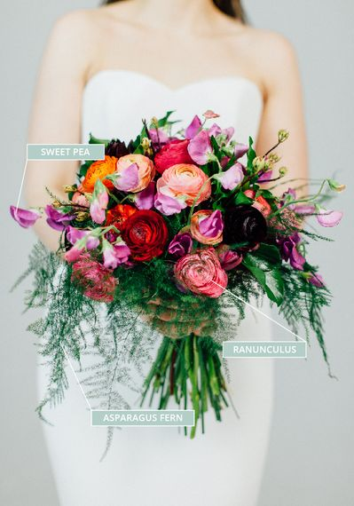 Spring Wedding Bouquet With Sweet Peas, Ranunculus, Asparagus Fern