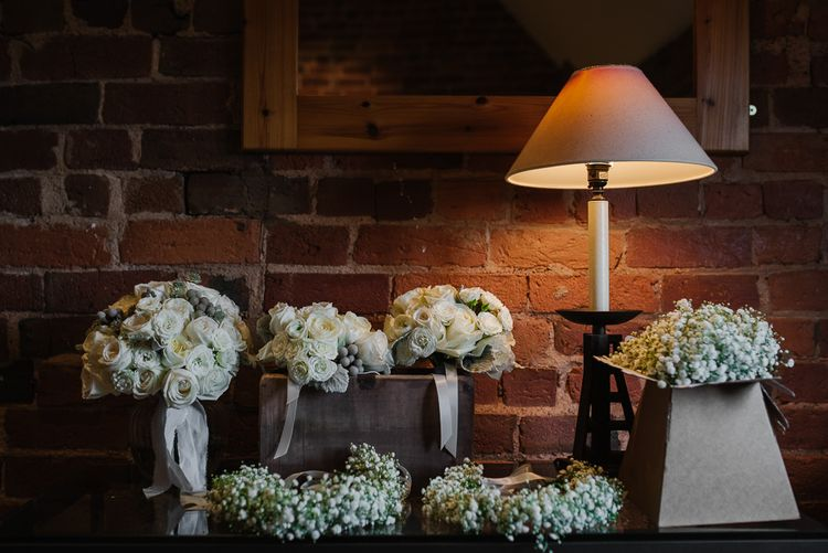 Winter Wedding Flowers White Roses And Gypsophila