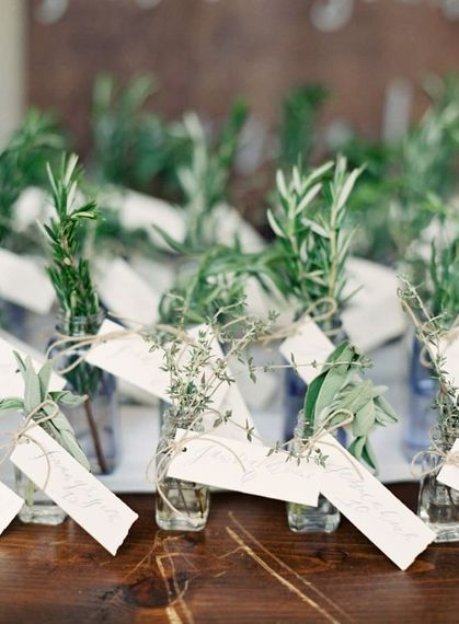 "Herb Decorated Wedding Favours | Summer Styling Reimagined | Image via <a href=""https://www.fabmood.com/tulle-wedding-gown-tuscan-inspired-wedding"" rel=""noopener"" target=""_blank"">Fab Mood</a> 