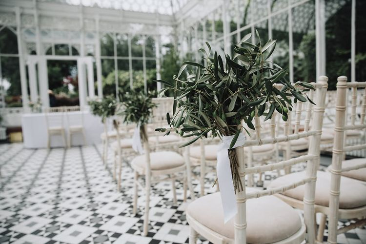 "Greenhouse Wedding Aisle Styling | Summer Styling Reimagined | Florals by <a href=""https://joannetruby.co.uk/"" rel=""noopener"" target=""_blank"">Joanne Truby</a> 