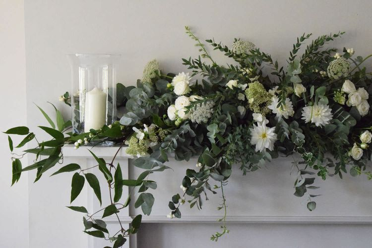"Fireplace Adorned with Florals | Summer Styling Reimagined | Florals by <a href=""https://mirandahackettflowers.co.uk/ "" rel=""noopener"" target=""_blank"">Miranda Hackett Flowers</a>"
