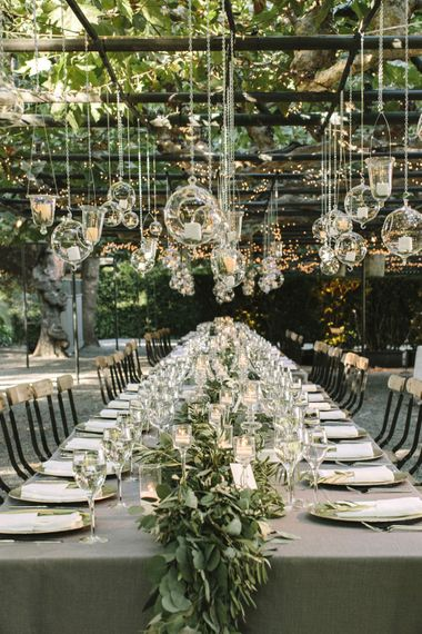 "Olive Leaf Table Garland | Summer Styling Reimagined | Image via <a href=""https://caratsandcake.com/BlairandJames"" rel=""noopener"" target=""_blank"">Carats and Cake</a> 