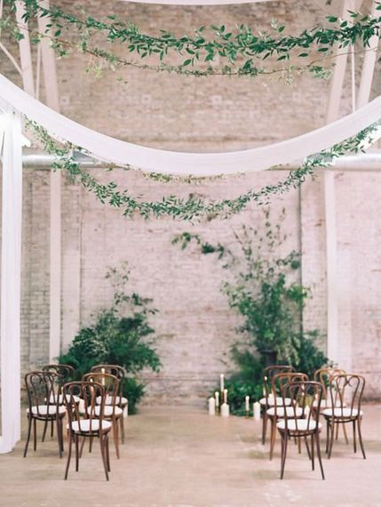 "Draped Wedding Ceremony | Summer Styling Reimagined | Image via <a href=""https://www.stylemepretty.com"" rel=""noopener"" target=""_blank"">Style Me Pretty</a> 