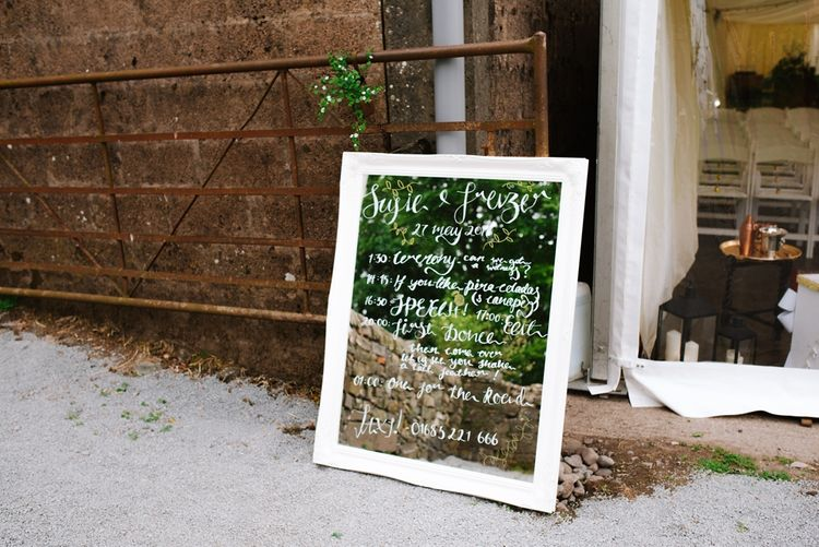 Mirrored Welcome Sign For Wedding