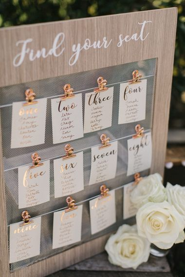 Wooden & Copper Wedding Table Plan From The Sainsbury's Home Wedding Collection