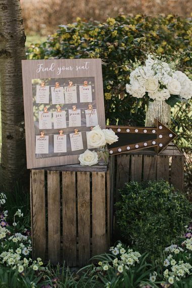Wooden & Copper Wedding Table Plan And Light Up Arrow From The Sainsbury's Home Wedding Collection