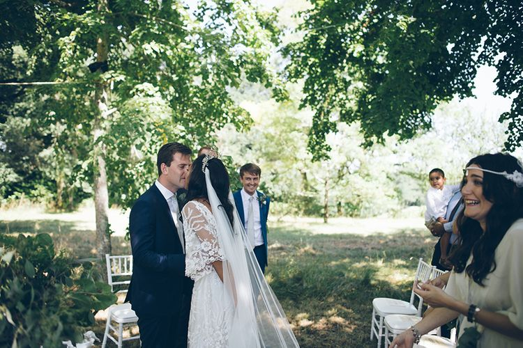 French Chateau Wedding At Château de la Bourlie With Bride In Vintage Gown & Bridesmaids In White Dresses By Silken Studio With Images From Lelia Scarfiotti